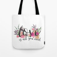 all you need is love Tote Bags featuring Love is all you need  by craftberrybush