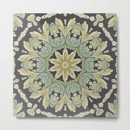 Mandala Leaves In Pale Blue, Green and Ochra Metal Print