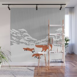 Foxes - Winter forest Wall Mural