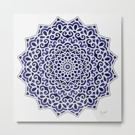 16 Fold Mandala in Blue Metal Print