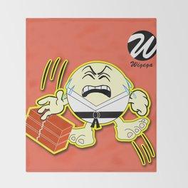 Comic Karate Character Breaking Bricks Throw Blanket