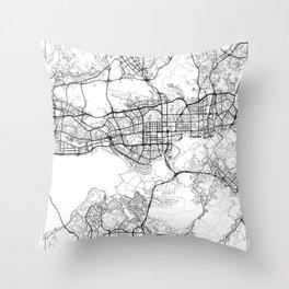 Shenzhen Map White Throw Pillow