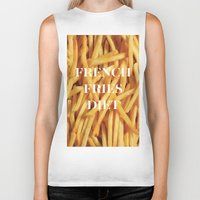 french fries Biker Tanks featuring French Fries Diet by Coconuts & Shrimps