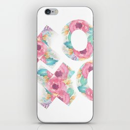 XOXO Floral Watercolor Typography iPhone Skin