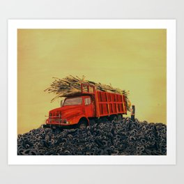 sugar cane and truck on fire Art Print