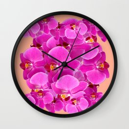 PEACHY CERISE PURPLE ORCHID CLUSTER Wall Clock