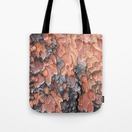 Close up texture of Ponderosa Pine Tree bark peeling Tote Bag