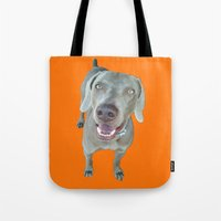 caleb troy Tote Bags featuring caleb dog by Pop Art Pet Portraits