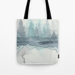 Pines in the Morning Mist Tote Bag