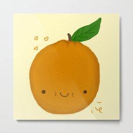 Kawaii Orange Metal Print