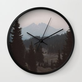 Pine forest In The Foreground Mountain In The Distance Modern Minimalist Photo Wall Clock