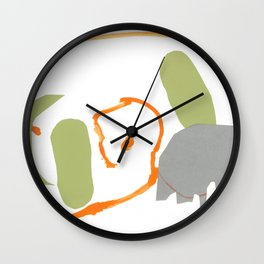 Direct Line V - collage in gray, orange and green Wall Clock