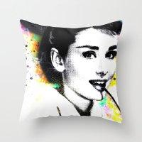 hepburn Throw Pillows featuring AUDREY HEPBURN by Vertigo