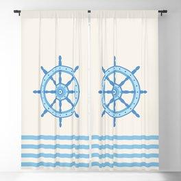 AFE Baby Blue Helm Wheel, Nautical Art Blackout Curtain