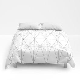 White Geometric Comforters