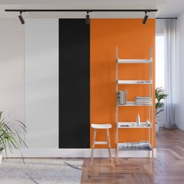 Modern White Black Orange Colorblock Wall Mural