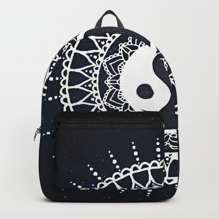 Yin Yang Mandala / White Mandala over stars Backpack