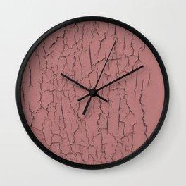 Pink cracked wall paint abstract art wall decor Wall Clock