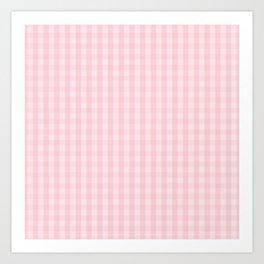 Light Millennial Pink Pastel Color Gingham Check Art Print