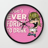drunk Wall Clocks featuring DRUNK GIRL by flydesign