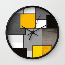Black Yellow and Gray Geometric Art Wall Clock