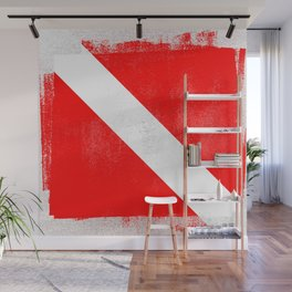 Diver Down Distressed Halftone Denim Flag Wall Mural