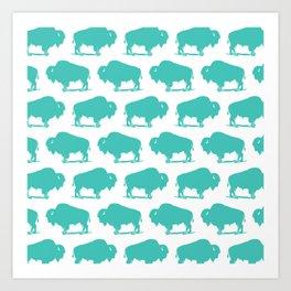 Buffalo Bison Pattern 273 Turquoise Art Print
