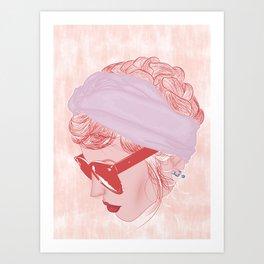 retro portrait of girl with unglasses Art Print
