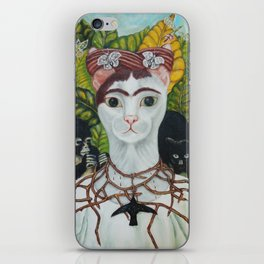 Frida the cat: Self-Portrait with Thorn Necklace and Hummingbird iPhone Skin