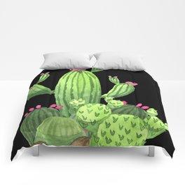 Flowering Cactus Bunch on Black Comforters