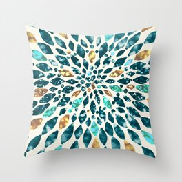 Glitter Dahlia in Gold, Aqua and Ocean Green Throw Pillow