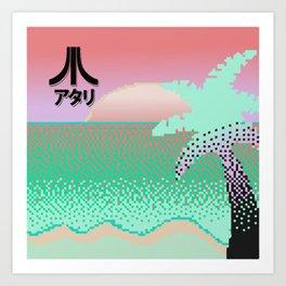 Vaporwave Sunset Pixel Art Art Print