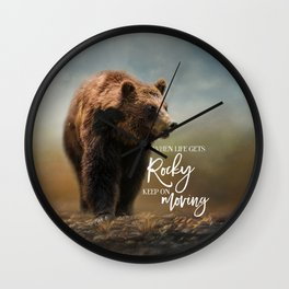 Grizzly On The Rocks Wall Clock