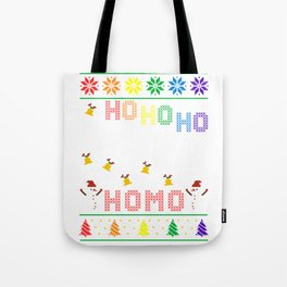 Hoho Homo LGBT Ugly Christmas Sweater Shirt Gift Tote Bag