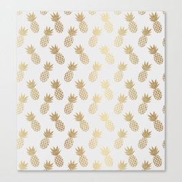 Gold Pineapple Pattern Canvas Print