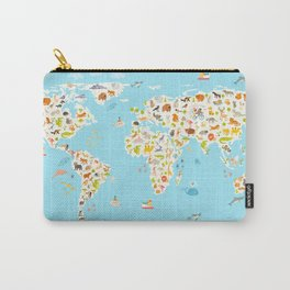 Animals world map. Beautiful cheerful colorful vector illustration for children and kids. Preschool, Carry-All Pouch