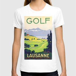Swiss vintage travel poster Golf Lausanne Switzerland T-shirt