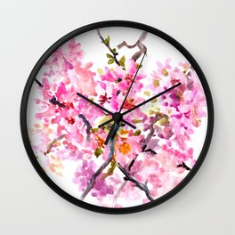 Cherry Blossom pink floral texture spring colors Wall Clock
