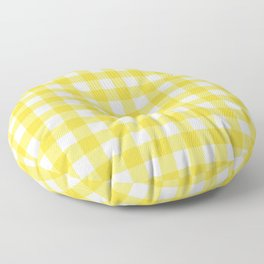 White & Yellow Gingham Pattern Floor Pillow