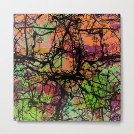 Cracks And Colour - Pastel orange, blue and green abstract with black marble effect Metal Print