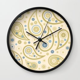 Paisley Funky Design Cream Golds Blues Wall Clock