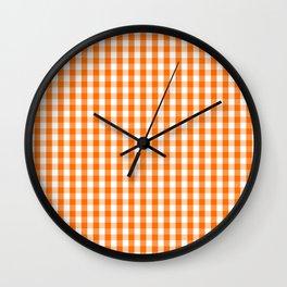 Classic Pumpkin Orange and White Gingham Check Pattern Wall Clock