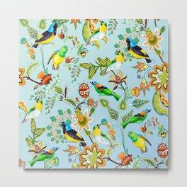 Colourful Birds Chintz Multicolour Metal Print