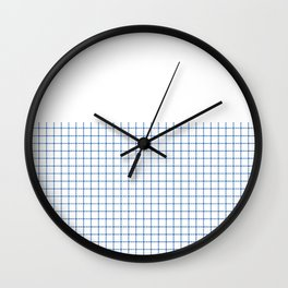 Dotted Grid Boarder Blue on White Wall Clock