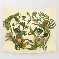 botanical Wall Tapestries featuring Botanical Pug by Huebucket