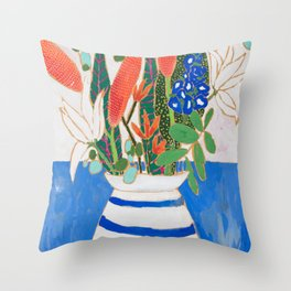 Nautical Striped Vase of Flowers Throw Pillow