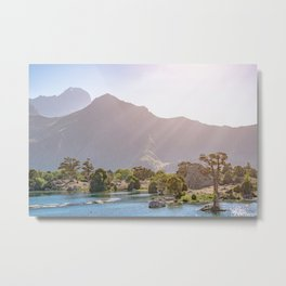 Mountain lake with blue water and a juniper tree in sunshine on a rocky mountain. Fann Mountains Metal Print