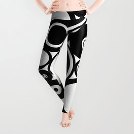 Retro Black White Circles Pop Art Leggings