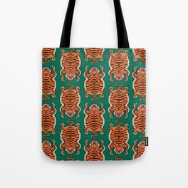 TIBETAN TIGER - ALL OVER (green) Tote Bag
