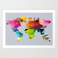 Geo World Map Art Print